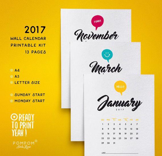 Calendrier imprimable 2017, Planner Calendrier 2017, Année mois, téléchargeable, couleurs noir blanc, digital print, agenda, A4 A5  --- A4 / A5 / LETTER SIZE (US) --- DÉBUT LUNDI OU DIMANCHE --- 1 PAGE ANNÉE --- 12 PAGES MOIS --- EN ENGLAIS  TÉLÉCHARGEMENT NUMÉRIQUE INSTANTANÉ 1 FICHIER ZIP > Le calendrier est en PDF  À noter : - Les couleurs peuvent varier selon l'écran, le papier utilisé ou l'imprimante - Il sagit dun achat numérique, aucun envoi postal et objets non fournis  M...