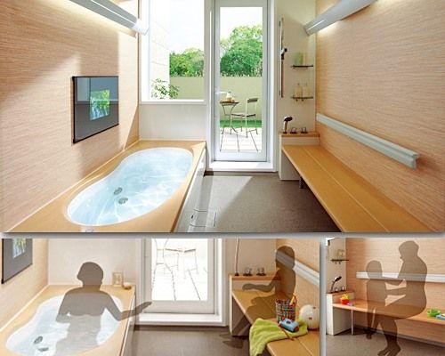 1.25坪サイズを確保すれば、親子でゆっくりお風呂が楽しめるベンチ付きユニットバスにリフォームが可能(楽浴楽座/積水ホームテクノ)
