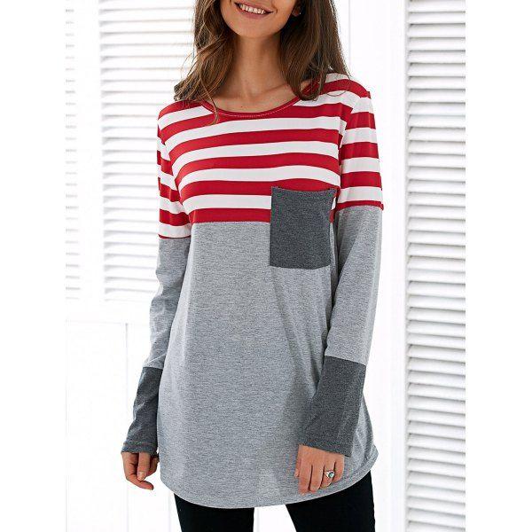 Patchwork Striped Long Sleeve Asymmetric T-Shirt