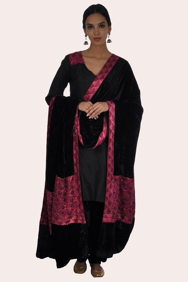 Black Phulkari Hand Embroidered Silk-Velvet Patiala Salwar Suit