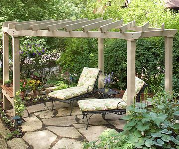 Pergola with Angled Design. When you build a pergola, consider positioning it at an angle for added interest. Although it occupies a flagstone patio with a square outline, this pergola was deliberately designed as a corner structure. The clipped front corner creates a wide diagonal entry that offers access to both the adjacent house and a terraced landscape nearby.