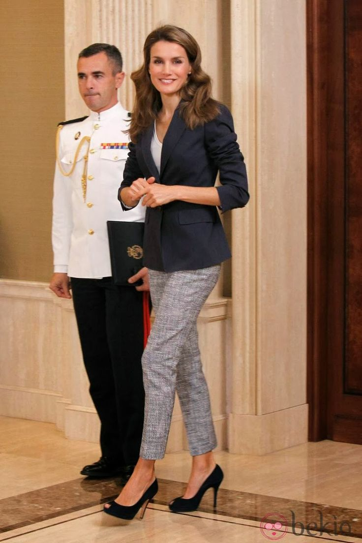 Princess Letizia attended an audience with members of the international youth proyect 'My Europe' at Zarzuela Palace in Madrid.