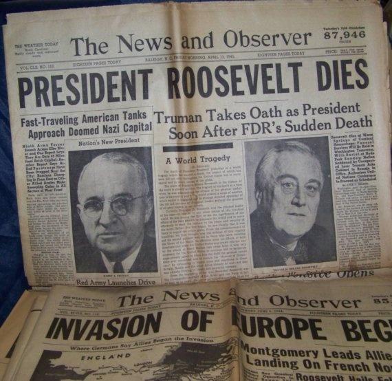 Newspaper Headlines from 1944: President Roosevelt Dies