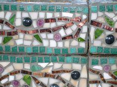 Custom Designed Mosaic Cinder Block Herb by midcenturymosaics