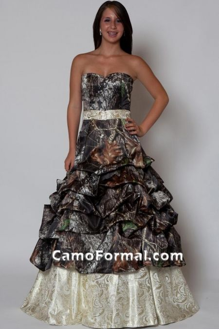 Fabulous Camo Wedding Dress Style Camo and Gold Paisley Brocade Dressc Camo Wedding Dress