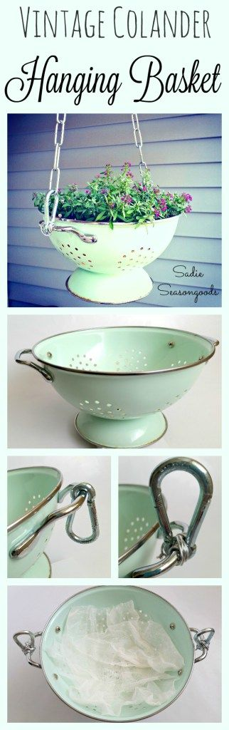 Upcycle and Repurpose an enamel colander into a hanging flower basket planter by Sadie Seasongoods / www.sadieseasongoods.com