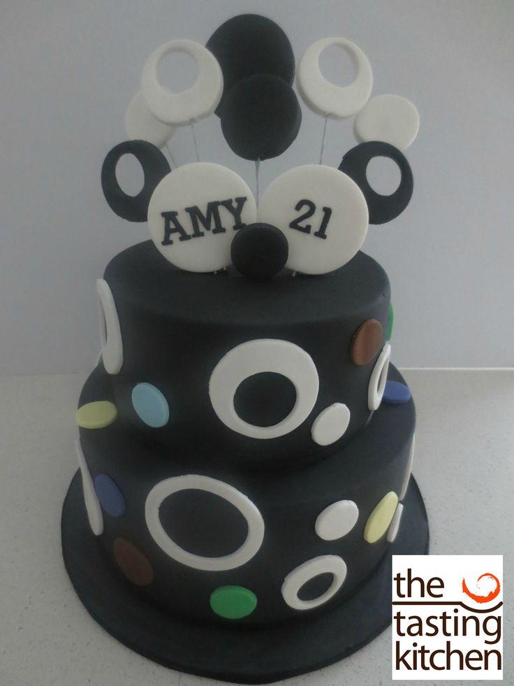 Black and White Birthday Cake, 21st Birthday Cake