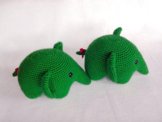 Green Crochet Elephants