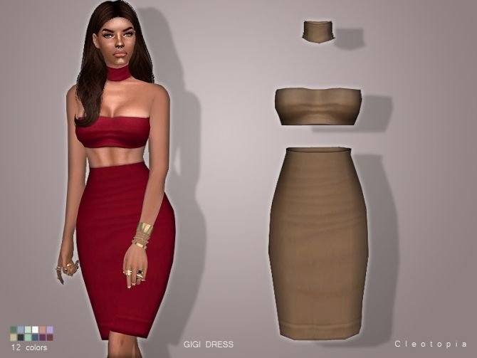 Sims 4 Updates: Cleotopia - Clothing, Female : GIGI DRESS, Custom Content Download!