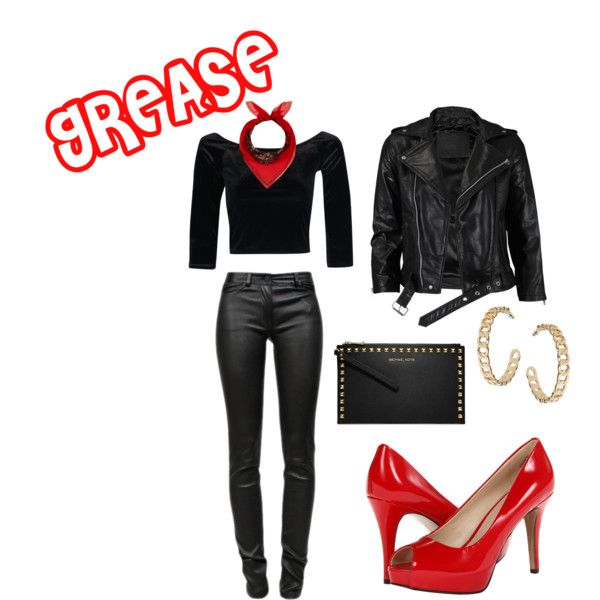 DIY Halloween Costume: Grease's Sandra D! #DIY #costume #adult #Grease #leather #Halloween #Party #biker #red #pumps #black #appropriate #modest #cute #fashion