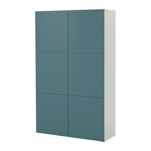 BESTÅ Storage combination with doors, white, gray-turquoise white/gray-turquoise 47 1/4x15 3/4x75 5/8