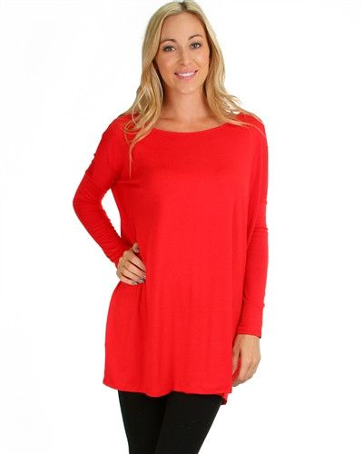 Red Tunic Style Long Sleeve Top