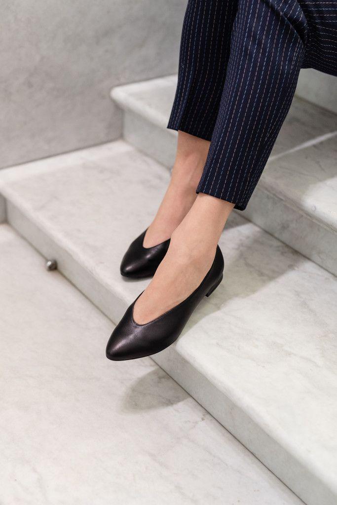 Audrey Black Czarne Skorzane Balerinki Monika Kaminska Womens Sneakers Women Shoes White Sneakers Women
