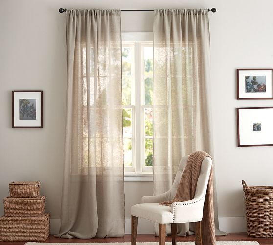 Linen Sheer Drape in Flax, Converts to Ring Top style also with clip rings added, Pottery Barn