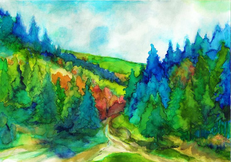 Mountain hiking - Hegyi túra -  Aquarelle - 21 x 30 cm - By Márta Bolla - Hungary