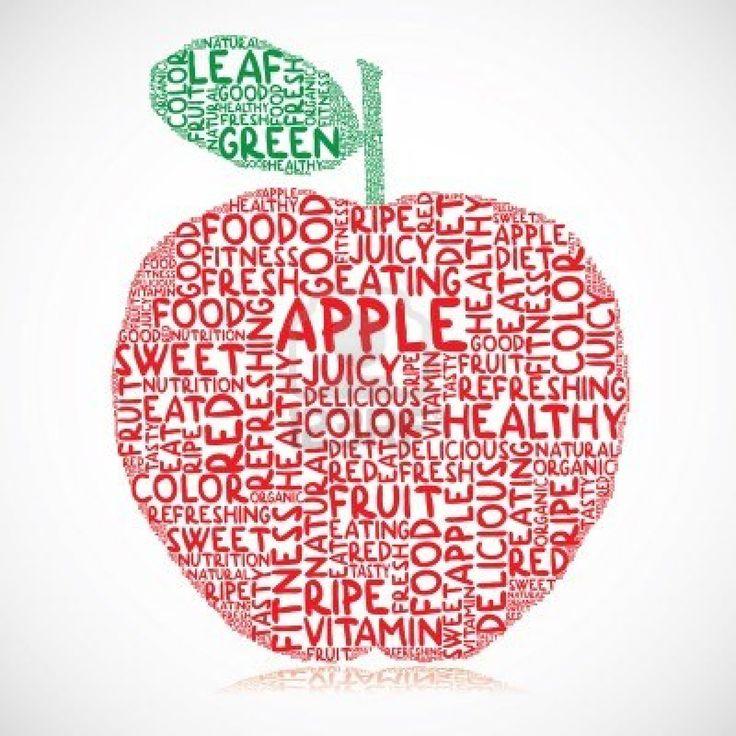 Ilustración de manzana hecha de palabras de colores Foto de archivo