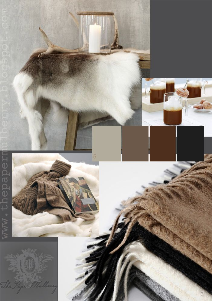 LODGE AND CABIN DESIGN ELEMENT IDEAS | COLORS: Grays, Brown and Black ACCESSORIES: Cashmere Throws, Antler Accessories, Animal Hides, Fur