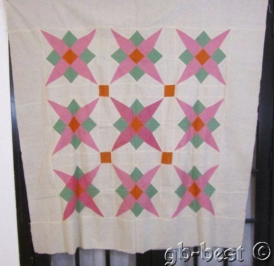 Jewel Tone 1920s PA Stars Squares Antique Quilt Top 67 x 64 Solids Green Pink | eBay