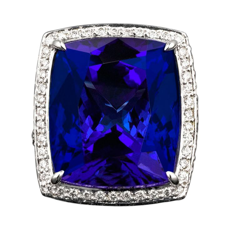 Cushion Shaped Tanzanite & Diamond Ring, 1st Dibs