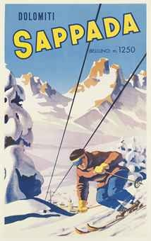 vintage ski poster - Sappada Dolomiti