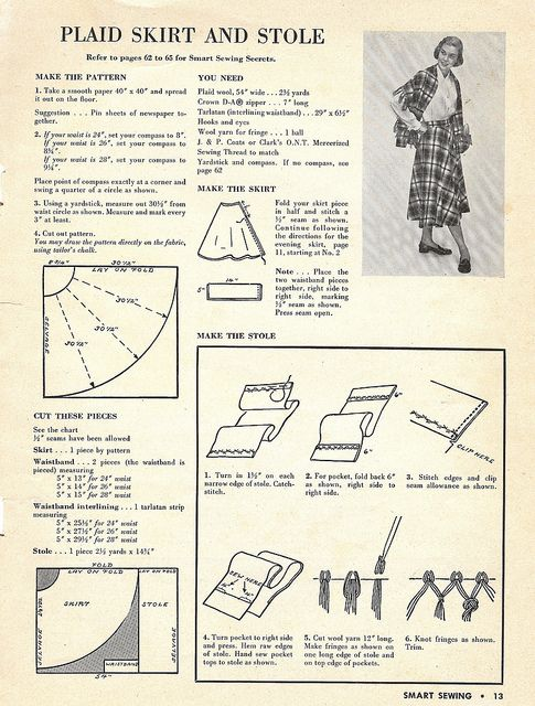 1949 half circle skirt and stole   by blueprairie, via Flickr