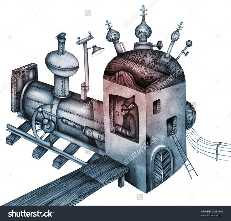 Old Locomotive by Eugene Ivanov. #eugeneivanov #steampunk #science #fiction #fantasy #machinery #victorian #illustration #art #original  #@eugene_1_ivanov