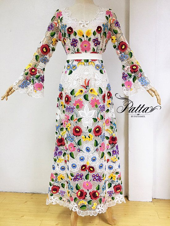 SUPER RARE! 1970s True vintage Hungarian Kalocsa wedding dress, hand embroidered Hungary florals, boho hippie bohemian folk lace maxi dress