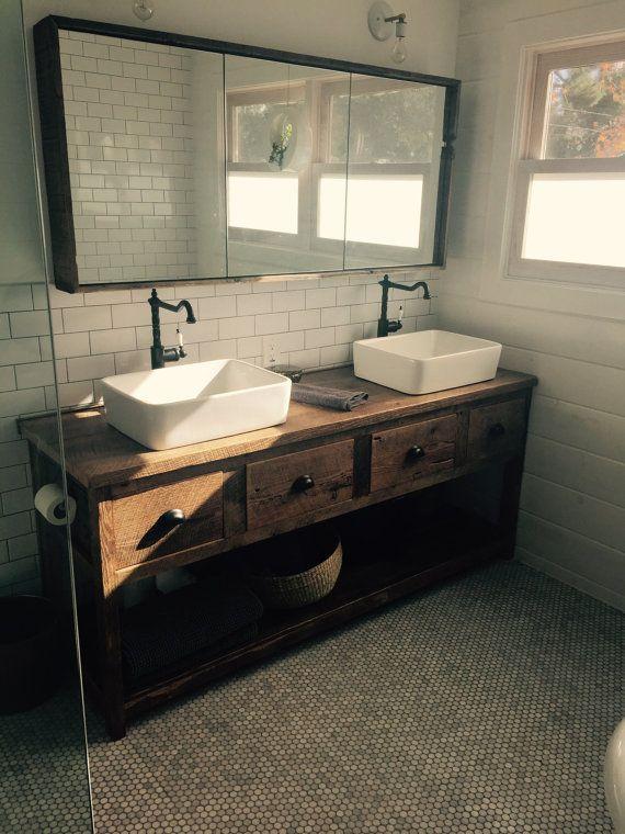 Custom Rush Barn Wood Double Vanity with FREE SHIPPING   BWVS4D1050C. 17 Best ideas about Custom Vanity on Pinterest   Open bathroom