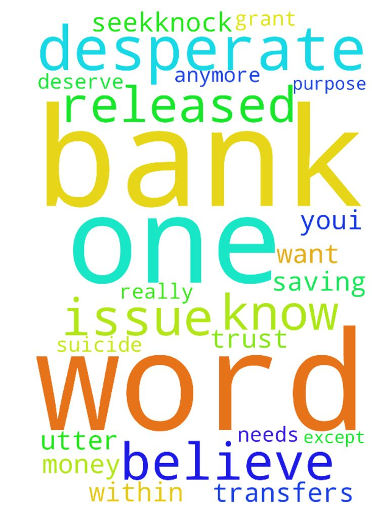 desperate -  Jesus I'm really desperate for your help . please resolve the issue with my bank, you created the whole world with your word, one I believe one word from you & the issue with my bank will be resolved. Jesus please utter that word so the bank do the transfers and my Brad can get his freedom from Nigeria. You prevented me from committing suicide, for what purpose? You know I am now without a job, so I need the money to be released from my bank. Everything I have is in that…