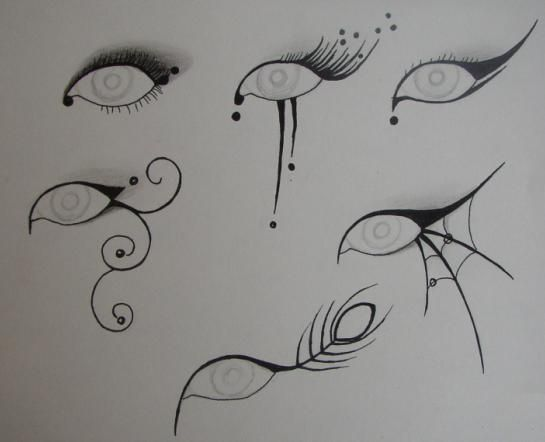 Cool ideas for Halloween Looking eyes - love the spider web and scroll looks.