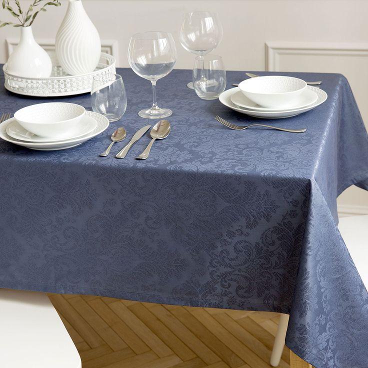 Mantel Jacquard plastificado azul oscuro