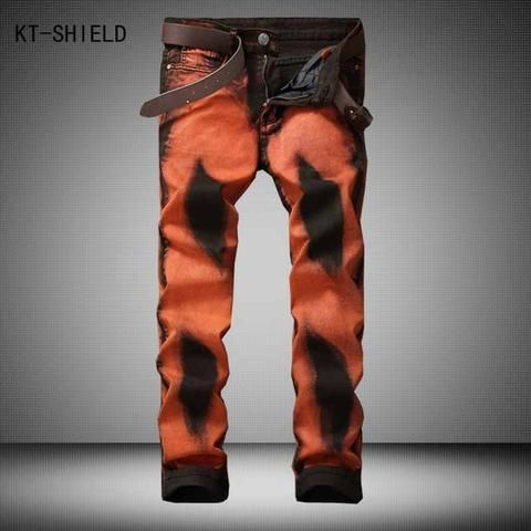 Fashion Stylish Cool Mens Pants Jeans With Print Graffiti Painted Street style