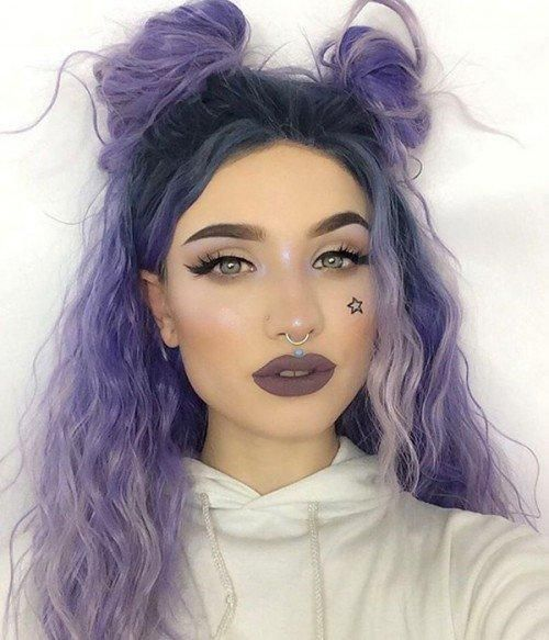 Lavender Dawn Purple Sprinkles Curly Synthetic Lace Front Wig - FashionLoveHunter #HairStyles