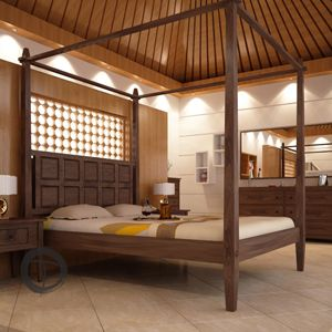 the four poster tropical canopy bed offers the exotic look of a 5 star island resort right in your bedroom the bold headboard is carved with a simple and