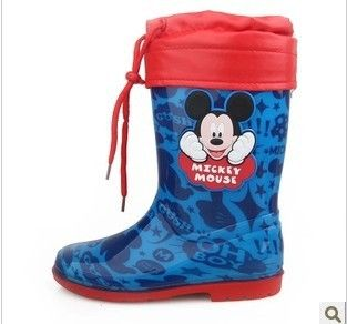 mickey mouse pattern children boots boys and girls rain boots wellies big kids rubber shoes