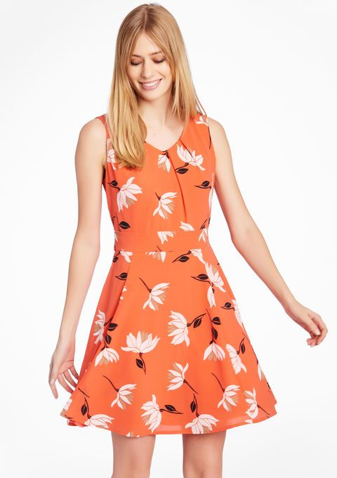 Lola Liza Mouwloze jurk met bloemenprint  CORAL BRIGHT oranje koraal dress sleeveless floral print orange