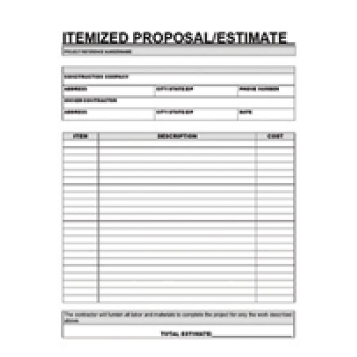 Free printable contractor proposal forms home for Written estimate template