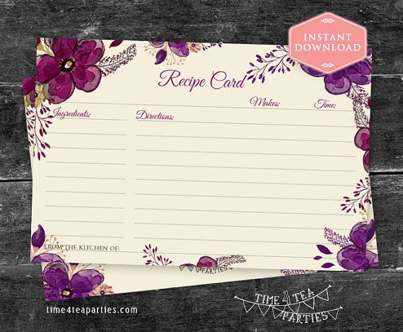 Recipe Card Plum Floral. Download Today  Bridal by Time4TeaParties