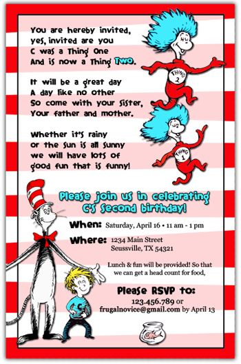 79 best cat in the hat - invite images on pinterest | birthday, Birthday invitations