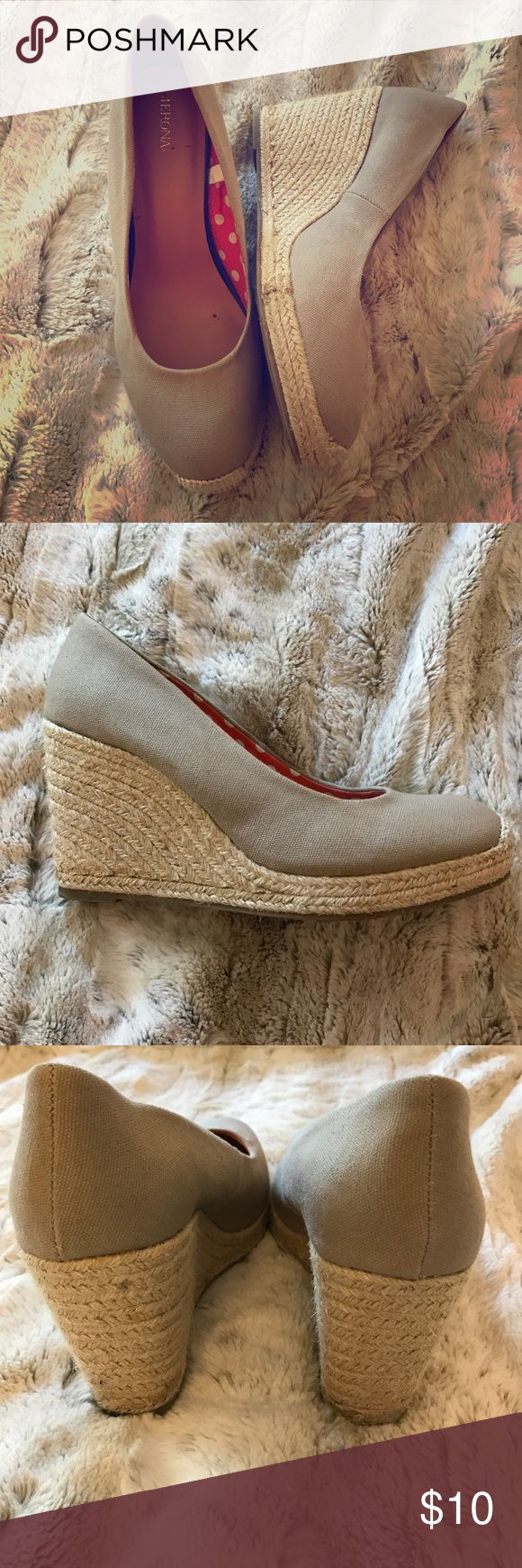 Tan and gold espadrilles Gently used. Tan espadrilles with gold accent. Perfect for a fun and casual summer event. Size 10 but runs a tad big. Merona Shoes Espadrilles
