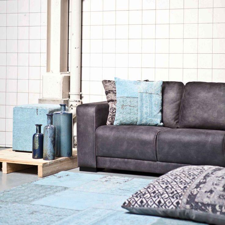 Carpet Patchwork - turquoise | Pillow Patchwork - grey & turquoise | Pouf Patchwork - turquoise