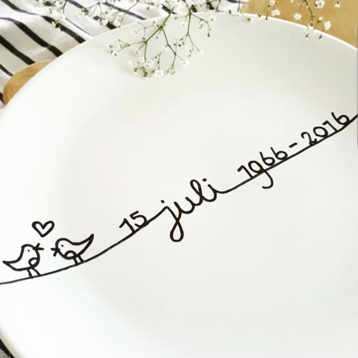 Cadeau huwelijksjubileum - bord hema met porseleinstift geschreven