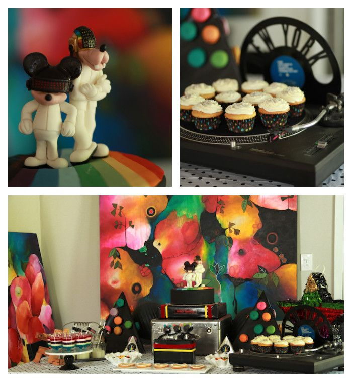 Daft punk mickey mouse themed birthday party via kara 39 s - Table daft punk ...