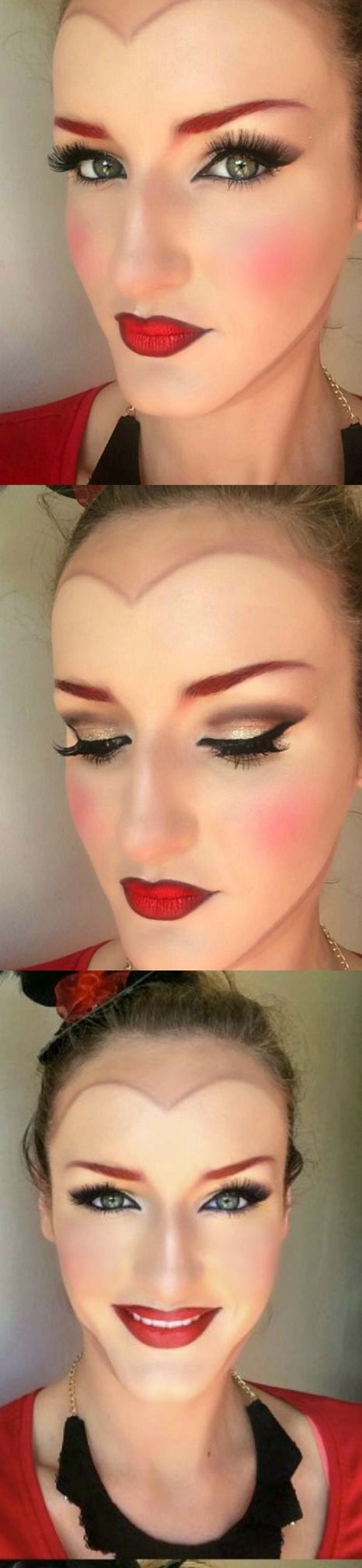 "Alice in Wonderland ""Queen of Hearts"" Makeup for Halloween on prettymuchblog.com"