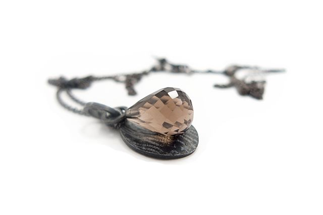 Necklace with smokey quartz and lace struck  oxidized silver. By Karina Bach-Lauritsen.