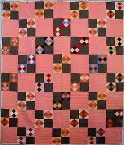Antique Double Four Patch quilt with Provinence and 1800s fabrics