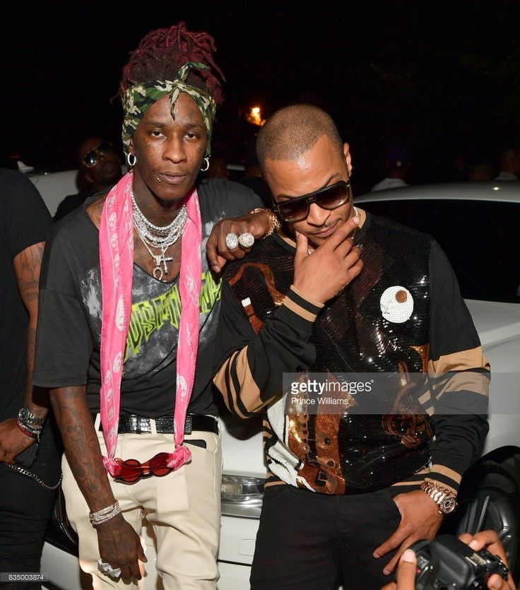 Young Thug and T.I. attend Young Thug's birthday party at Tago International on August 16, 2017 in Atlanta, Georgia.