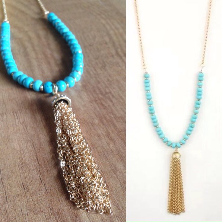 I love this necklace. Turquoise beads and Gold tassel with chain. It's great to wear during the day or evening. Love!