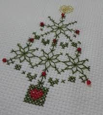 Resultado de imagen para arbolitos de navidad en punto de cruz