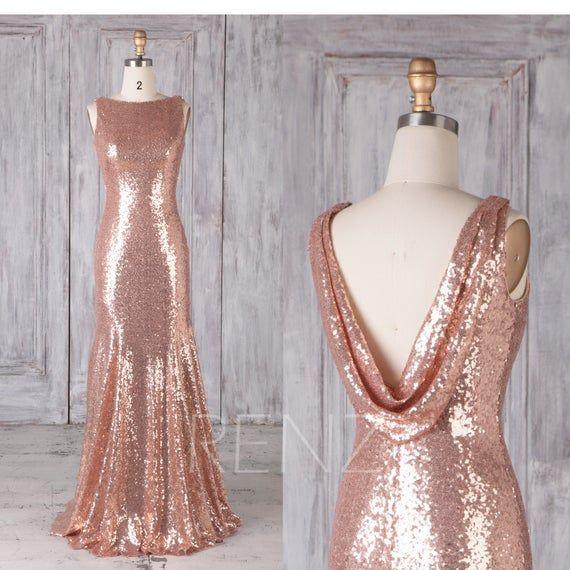 Rose Gold Bridesmaid Dress Sequin Dress
